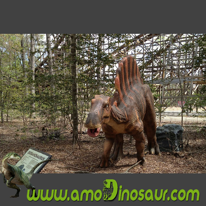 Animatronic dinosaur third-generation Ouranosaurus with humans